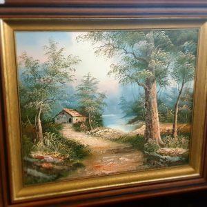 schilderij stal aan een meertje